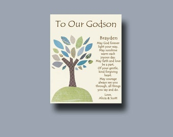 Godson gift - Gift for Godson - Gift for Godson from Godparents - Personalized gift for Godson, Gift from Godparents, Baptism Keepsake  TREE