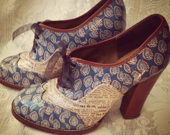 MADE TO ORDER Vintage Style Decoupaged Shoes