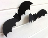 Halloween Bat shapes, cut-outs. 3D Bat die cuts with fold-up wings. Halloween decor, party decorations. Black Halloween bats. Range of sizes