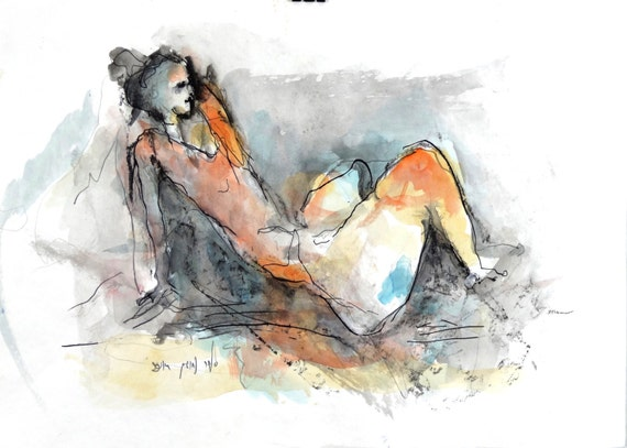 Original woman sketch bright watercolor paints unique art 19.3 X 13.8