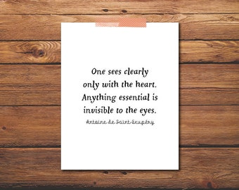 One Sees Clearly Only With The Heart - Little Prince Quote - Antoine - Exupery - De Saint - Little Prince Poster - DIGITAL DOWNLOAD