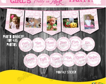 INSTANT DOWNLOAD. Pretty in Pink Photo Banner with Monthly Stickers,  First Birthday Photo Banners, 1st birthday, Printable Monthly stickers