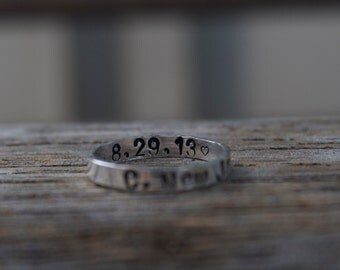 Hand Stamped Ring // Secret Message // Hidden Message // Personalize // Sterling Silver