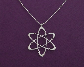 Diamond - carbon atom necklace- Science necklace - Sterling silver necklace