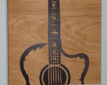 Custom ACOUSTIC Guitar Wood Wall Art