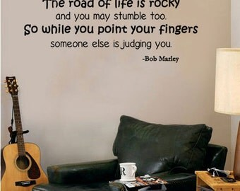 """Bob Marley Quote - While You Point Your Fingers Someone Else Is Judging You Wall Decal (30"""" X 11"""")"""