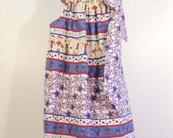 SALE! America The Beautiful Partriotic Pillowcase Dress, Size 5