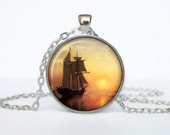 Old sailing ship necklace Vintage sail ship pendant Nautical jewelry