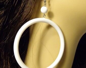 VINTAGE HOOP earrings White Open Hoop Dangle Earrings 3 inch