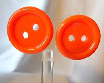 VINTAGE Button Earrings ORANGE Button pierced 1.25 inch
