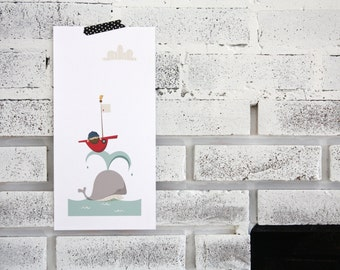 illustration-whale and boat print- nursery- children
