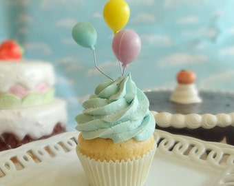 Fake Cupcake Happy Birthday Celebrate Fake Vanilla Cupcake Aqua Robin's Egg Blue Frosting Party Balloons Favor Photo Prop