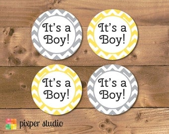 INSTANT DOWNLOAD - Yellow and Grey Chevron Baby Shower Cupcake Toppers - It's a Boy