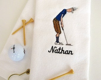"Mens Golf Gift - Personalized Golf Towel - Golf Towel ""Golf Dude Putting"" White towel # golf 002W"