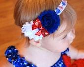 Red White and Blue Headband, 4th of July, Military Homecoming, Military Ceremony,  Patriotic Headband, hair bows, baby headband