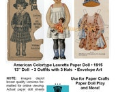 Paper Dolls _ Antique American Colortype LAURETTE Paper Doll & Outfits _ Ephemera Paper Craft Collage Sheet PDF Digital Download Bonus Guide
