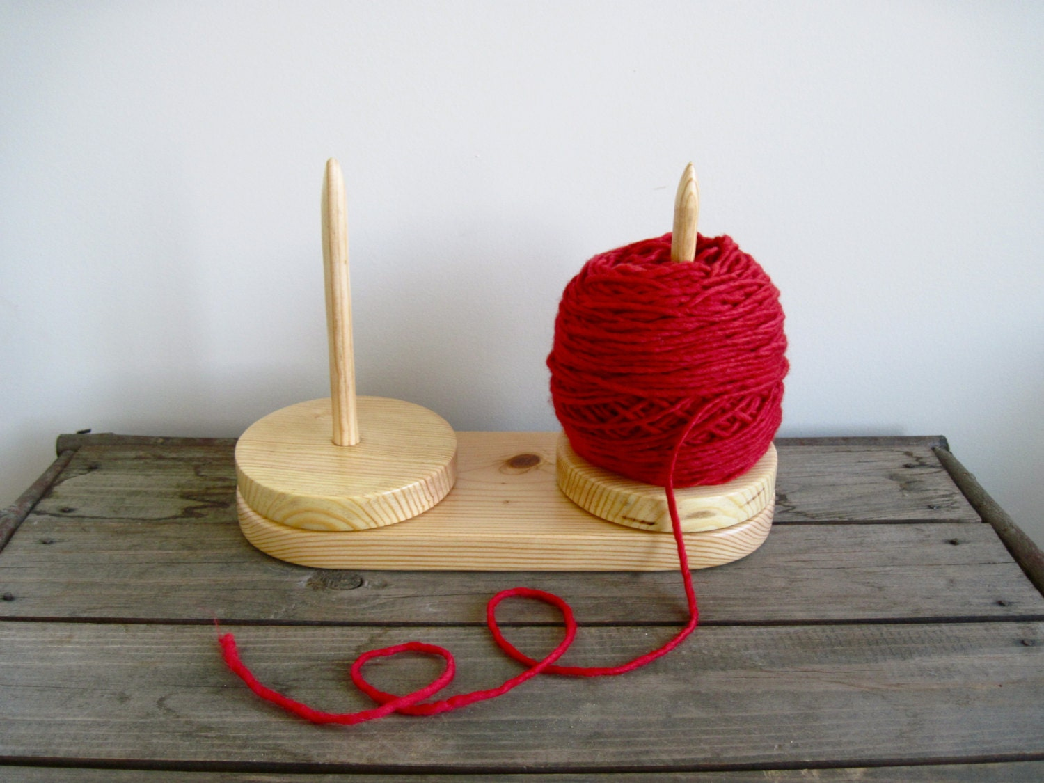 Knitting Yarn Holder : Yarn caddy country pine double holder for knitting
