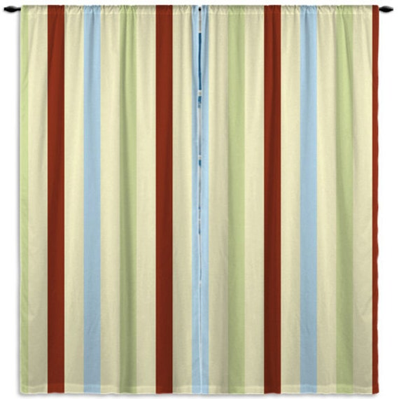 Items Similar To Striped Curtains Green Brown Yellow Blue Personalized Curtains Teen Bedroom