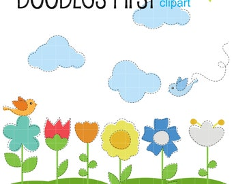 Cute Simple Flowers Digital Clip Art Set Digital Clip Art Set for Personal and Commercial Use