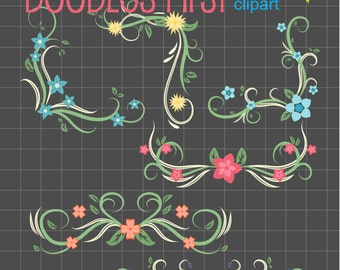 Decorative Floral Borders Digital Clip Art Set Digital Clip Art Set for Personal and Commercial Use