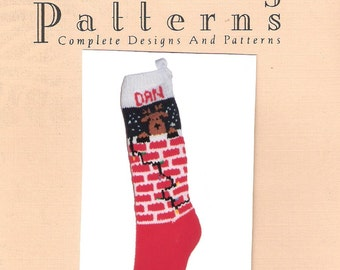 Christmas Stocking Pattern,  Chimney Reindeer