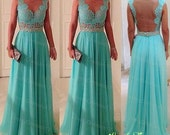 Chic Turquoise Lace A-line Straps Floor Length Prom Dress