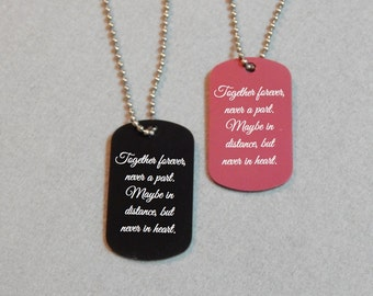Personalized Laser Engraved Dog Tag with Chain - Set of 2 - Couple's Dog Tags - Personalized Message Dog Tags - His and Hers Dog Tags