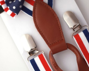 4TH OF JULY - Suspender Bowtie Set - Red, White and Blue striped suspenders and bow tie.