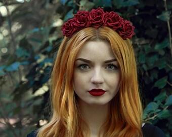 Burgundy Rose Flower Crown, Rose Headband, Red Flower Crown, Flower Crown, Red Rose Crown, Flower headband, Rose Headband, Festival Crown