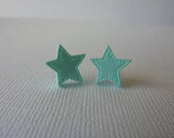 Mint Green Star Earrings, Polymer Clay Star Cabochon Stud Earrings on Nickel Free Posts