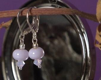 Violet Lampwork Beads Sterling Silver Earrings, Leverback, Violet, Swarovski Crystals, 925 Sterling Silver Earring, Simple Dangle
