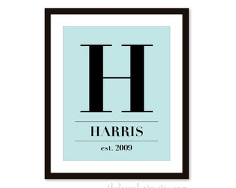 Custom Family Monogram -  Art Print  -  Pale Blue and Black -  Elegant Decor - Modern Wall Art
