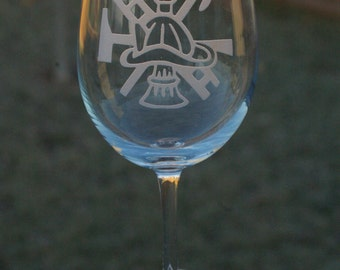 Fireman etched wine glass-Sandblasted/Etched