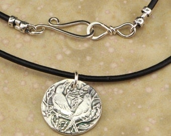 Necklace with Fine Silver, Round, Love Birds Pendant on Leather Cord with Sterling Silver Clasp