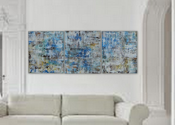 "3 panel Large abstract painting by Marcy Chapman /each piece 20"" x 24"" total 60""x 24"" Ready to hang!"