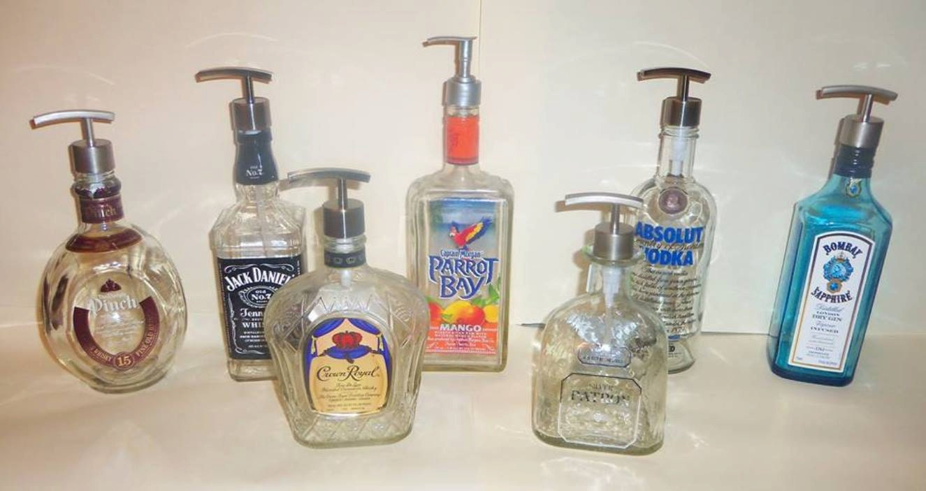 Upcycled Whiskey Tequila Beer Bottle Decorative Soap Pump