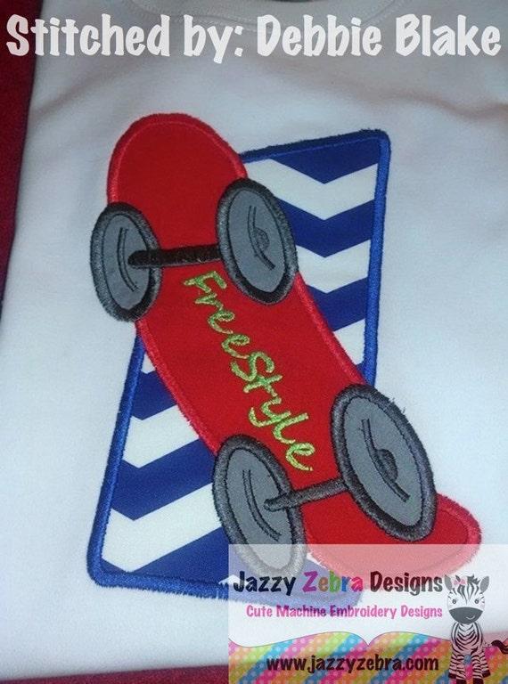 Skateboard Applique embroidery Design - skate board Appliqué Design - boy Appliqué Design - skateboarding Appliqué Design - skateboard