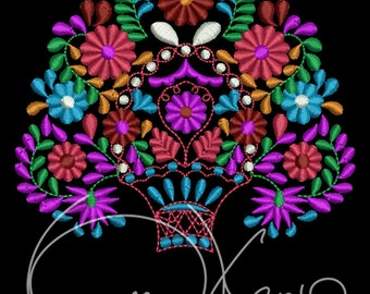 MACHINE EMBROIDERY FILE - Mexican design basket with the flowers