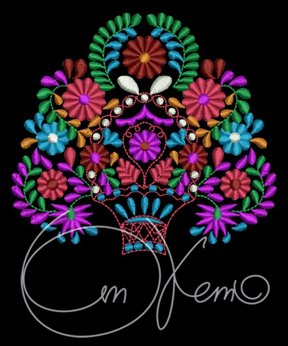 Machine embroidery file mexican design basket with the