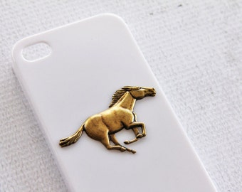 White Cell Phone Case for Apple iPhone 4 4s Horse Cases Animal Phone Cover Rubber Silicone Cases Phone Covers Unique Equestrian Aquestrian
