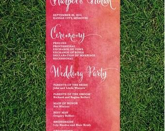 Watercolor Wedding Program // DIY 4x11 Printable // Wedding Program, Day of Wedding, Wedding Stationery, Ombre Watercolor Wedding