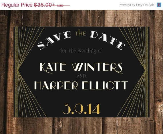 vintage art deco save the date 4x6 50 by blacklabstudio. Black Bedroom Furniture Sets. Home Design Ideas