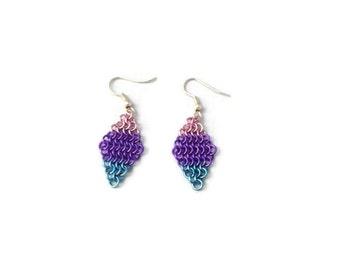 Bi Pride Earrings - Bisexual Flag Chainmaille Earrings