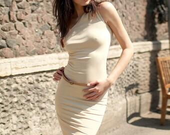 Casual Cotton Beige dress Shoulder Pencil dress Tube dress