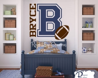 Varsity Letter Football Decal with Personalized Name