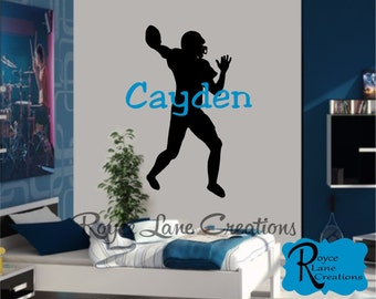 Football Player Wall Decal with Personalized Name for Teen Boys Bedroom Sports Wall Decal Football Wall Decal - Football Decor
