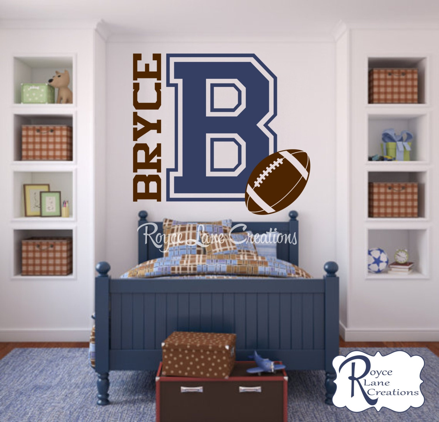 Varsity Letter Decal With Personalized Name And Football B1 For Teen Boys  Bedroom Sports Wall Decal Football Wall Decal