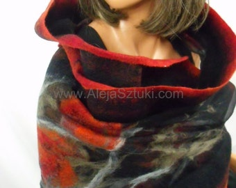 Hand made silk shawl on natural silk. Only unique design, Nuno felting, felted. red, black, gray