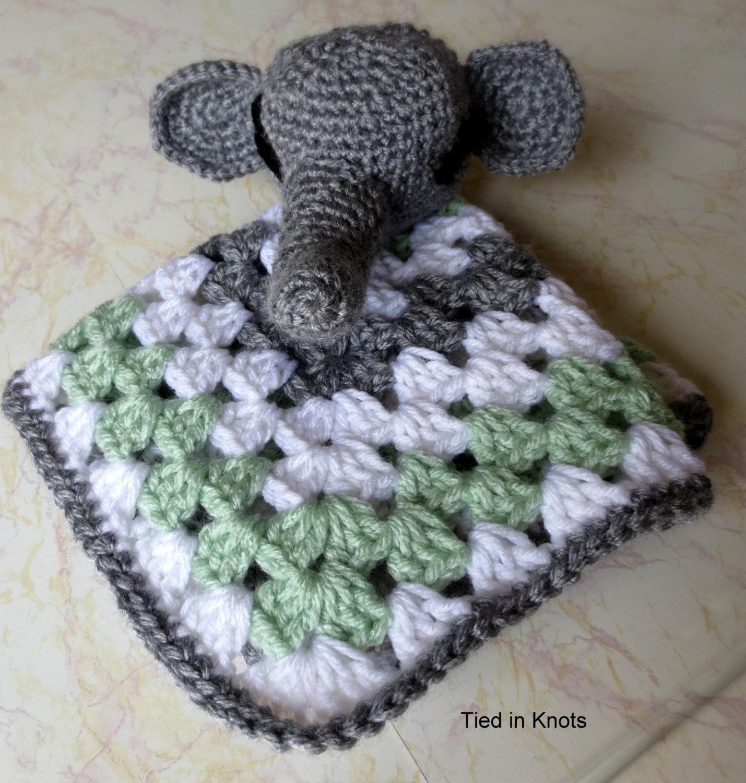 Crochet Elephant Blanket : Elephant Lovey Blanket Baby Elephant by TiedinKnotsCrochet