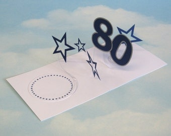 80th Birthday Card Spiral Pop Up 3D - Blue Stars